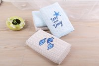 Wholesale Antibacterial Face Towel - NEW 100% Cotton Towel starfish& tiddler For Adults&children Soft Absorbent Antibacterial towel size 41*66cm Blue Beige