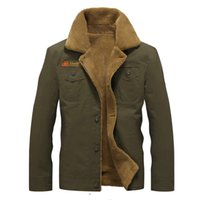 abrigo chaqueta militar prendas de vestir exteriores al por mayor-Bombardero de los hombres del Ejército de vestir exteriores táctico militar chaquetas de invierno chaquetas para hombre de algodón grueso cuello de la piel caliente Coats M-5XL
