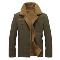 casuais homens casaco militar venda por atacado-Bomber Army Men Casacos Militar tático casacos de inverno Casacos Mens algodão grosso Pele Quente Collar Coats M-5XL
