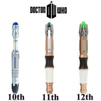 Wholesale plastic dr - Doctor Dr. Who 11th 12th Sonic Screwdriver With Light And Sound Action Figures Cartoon Sonic Screwdriver CCA7760 10pcs