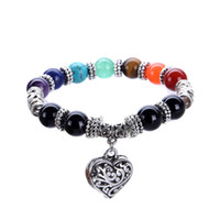 Wholesale Rainbow Crystal Bracelet - Chakra Rainbow Bracelet Love Heart Pendant Boho Female Antique Silver Plated Jewelry Purple Crystal Jade Red Agate