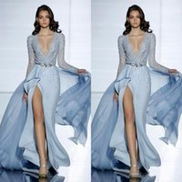 Wholesale Zuhair Murad Burgundy Chiffon Gown - 2017 See Through Sexy Zuhair Murad Mermaid Evening Dresses With Long Sleeves Formal Prom Dress Crystals Blue High Split Celebrity Gowns
