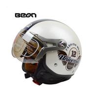 cascos de moto vintage dot al por mayor-Venta al por mayor- 2017 Beon vintage motocicleta casco capacete motocicletas moto casco aprobado por el verano medio casco casco motocicleta