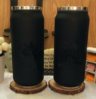 Wholesale Thermos Kettle Flask - Classic logo black Vacuum Cup straw Thermoses car bottle Flask Cups Garrafa straw Termica Inox lipstick cup Coffee Travel