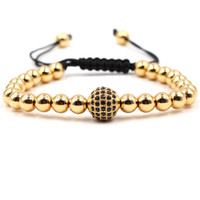 Wholesale gold braid bracelet - 2018 Fashion Jewelry Beaded Bracelet Zircon Pave Bead Rope Braided Men Women Gold Beaded Classic Bangles Luxury Adjustable Bracelets
