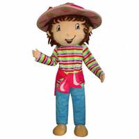 traje de morango venda por atacado-SpotSound Morango Shortcake Girl Mascot Costume Party Dress Frete Grátis