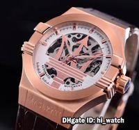 Wholesale Cheap Big Dial Watches - Super Clone Luxury Brand Cheap 43mm Maserati Potenza R8821108002 Skeleton Big Maserati Logo Rose Gold White Dial Automatic Mens Watch MST05
