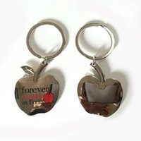 Wholesale Funny Cheap Gifts - DHL Free Shipping Funny Design Zinc Alloy Cheap Apple Shape Keychain With Your Logo For Promotional Gift