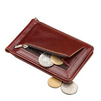 Wholesale Leather Cash Clip - High Quality Leather Men Wallet Money Clips Stainless Steel Clamp Holder Cash Money Clip Small Zipper Coin Pocket Wallet For Men