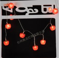 Atacado - Fruit Red 3D Apple 10 LED String Lights Bateria operada Bulbo Lamp Strip DIY Wedding Garden Farm House Tree Christmas Xmas Decor
