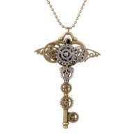 Wholesale Steam Keys - Tennis, Graduated European and American foreign trade original single retro necklace key chain style steam steampunk necklace
