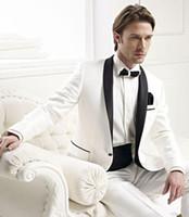 Wholesale men wedding suits ties resale online - Brand New One Button Groom Tuxedos White Best man Suit Shawl Collar Groomsman Men s Wedding Suits Bridegroom Jacket Pants Tie Girdle