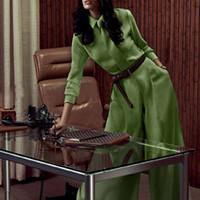 Wholesale Plus Size High Waisted Pants - Top Fashion Women's Elegant Design Plus Size 3XL 2 Pieces Pants Set Blouse Loose Pants Solid Color Green Twin Set with Tie Suits
