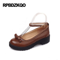 Wholesale Brown Lolita Shoes - Ankle Strap Japanese School Women 2017 Round Toe Embellished Platform Ladies Brown Flats Lolita Shoes With Little Cute Bowtie