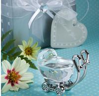 souvenir de bébé en cristal achat en gros de-Cristal Indien Baby Shower Favors Cadeaux pour Invité Cristal Bébé Chariot Présente Faveurs De Fête Bébé Souvenir 100 pcs En Gros