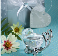 baby-kristall-andenken großhandel-Indische Kristall Baby Shower Favors Geschenke für Gäste Crystal Kinderwagen Present Party Favors Baby Souvenir 100pcs Großhandel