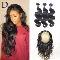Wholesale Brazilian Lace Full Head Closure - Brazilian Peruvian Malaysian Indian Human Hair 3 Bundles Body Wave With 1pc of 360 lace frontal closure For a Full Head Hair Extension