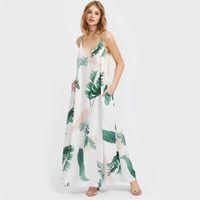 Wholesale Hidden Leaf - Jungle Leaf Print Hidden Pocket Side Cami Dress Summer Maxi Dress Spaghetti Strap V Neck A Line Slip Dress
