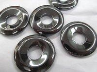 Wholesale Gemstone Focal - AA+ 12pcs 12-40mm Hematite Donut, Silver Gray Hematite Gemstone Pi Donut Focal Pendant Hemaite jewelry