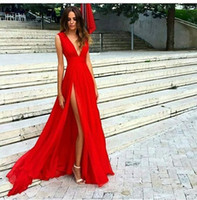 Wholesale Modern Import - Red Prom Dresses Cheap 2018 Deep V Neck Formal Evening Dress Long Imported Party Gowns Free Shipping