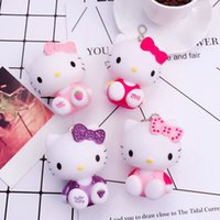 Wholesale Skeleton For Silicone Doll - Cartoon cat sitting Kitty doll Keychain vinyl bag pendants wholesale car keys for men and women
