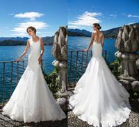 Wholesale Marriage Jewels - Milla Nova DORIANA 2017 Beach Mermaid Wedding Dresses White Lace Appliques Sheer Neck Illusion Bridal Gown Long Court Train Robe De Marriage