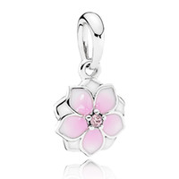 Wholesale Enamel Charms Round - Authentic 925 Sterling Silver Bead Charm Pink Enamel Magnolia Bloom With Crystal Pendant Beads Fit Women Pandora Bracelet Diy Jewelry HK3750