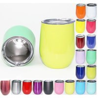 Wholesale Double Layer Glass Lid - 19 Colors Egg Cup Stemless wine cup 9oz Double Layer Mugs Powder Coated Stainless Steel Beer Wine Glasses Vacuum Insulated Cups 9pcs