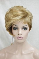 Wholesale Three Tone Wigs - Free shipping!Hivision 2017 New high-end heat ok three tone mix color fashion asymmetric Straight short wig