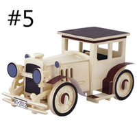 Wholesale 3d Wooden Car Puzzle - 3D Three-dimensional Wooden Car Plane Tanks Ship Jigsaw Puzzle Toys for Children Diy Handmade Wooden Jigsaw Puzzles