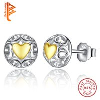 BELAWANG Vintage 925 Sterling Silver Love Stud Earrings para mulheres com rosa de ouro Cor Coração Openwork Heart Earrings Jewelry Wholesale
