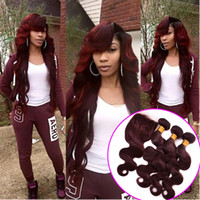 Wholesale Wine Red Color Hair - Hot Sale Beauty Color #99j Wine Red Hair Weaves With Lace Closure 4Pcs Lot 7A Burgundy Body Wave Human Hair