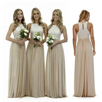 Wholesale Halter Wedding Dress Plus Size - Sexy Long Champagne Chiffon Bridesmaid Dresses Lace Beach Bridesmaids Dress Plus Size Wedding Guest Gowns Country Maid of Honor Dress