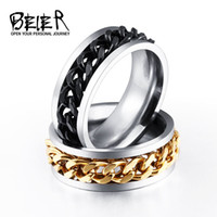 Wholesale Br Wedding - BEIER New Plated Gold Black Man's Cool Spin Chain Ring For Man Stainless Steel Cool Man Woman Fashion Jewelry BR-R054