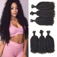 Wholesale 24 human braiding hair resale online - Kinky Curly Bulk Human Hair Extensions Natural Color Brazilian Human Braiding Hair Bulk No Weft pieces FDSHINE