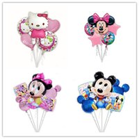 le réglage de l'éponge achat en gros de-5pcs / set Enfants Birthday Theme Party Décoration de bande dessinée Mylar Ballons Bouquet Elsa princesse kitty mickey Minnie Minion Bob l'éponge