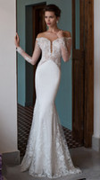 Wholesale Bohemia Shirt - 2017 Hot Bohemia Satin Mermaid wedding Dresses Lace Sheer Scoop Neck Long Sleeves Floor Length Long Bridal Gowns