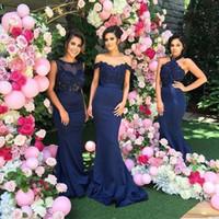 elegante imperio longitud del piso joya al por mayor-Sirena azul marino vestidos de dama de honor apliques de encaje Bateau Maid of Honor vestidos de boda vestidos de invitados 3 Tipo
