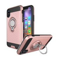 Wholesale Galaxy Note Metal Cases - Hybrid Armor Case 3D Shockproof Metal Ring Bracket Holder Back Cover For iPhone X 8G 7 6 plus Samsung Galaxy S8 Note 8 Magnetic Car Mount