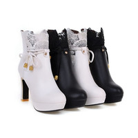Wholesale Taiwan Winter Fashion - Fashion zipper thick with waterproof Taiwan high-heeled boots shoes new spring winter boots and naked shoe lace boots