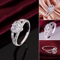 Wholesale Heart Shaped White Gold Ring - best gift for lovers crystal zircon rings heart shape women rings for wedding white gold rings