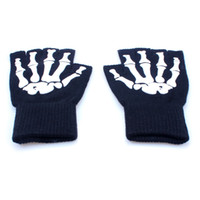 Wholesale Wholesale Fingerless Magic Gloves - Halloween Magic Gloves Elastic Fingerless Skull Cycling Gloves Bicycle Half Finger Gloves For Party outdoors multifunctional