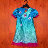 Wholesale Girl Spells - 2017 new trolls short short sleeves dress Net yarn Girls dress cartoon trolls Spelling a flower pattern kids choth