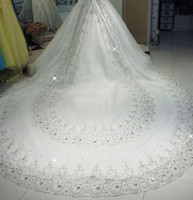 Wholesale Long Tulle Veils Crystals - Luxury White 3M Long Rhinestones Cathedral Wedding Veils With Applique Crystals One Layer Tulle Sequined Bridal Veil