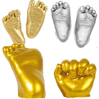 Wholesale Plaster Moulds - 3D Keepsakes Baby Casting Kit Handprint Footprint Plaster Cast Mould Gold And Silver Newborn Baby Hand Foot Mould
