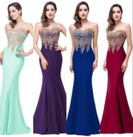 diseñador vestido de encaje rojo al por mayor-2017 Nuevo Diseñador de Moda EN STOCK Vestidos de Fiesta de Sirena Baratos Sheer Neck Lace Applique Vestidos de Fiesta de Noche Alfombra Roja Vestidos de Pista