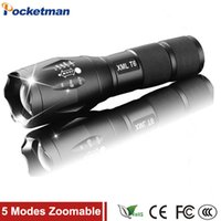 Wholesale Fish Drive - E17 3800 Lumens 5-Mode CREE XM-L T6 LED Flashlight Tactical cree led Torch Zoomable Focus for AAA or 1xRechargeable 18650 battery