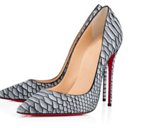 Wholesale Top Ladies Heel Shoe - Sexy rivet Snakeskin pattern Womens wedding shoes women pointed toes party Luxury elegant fashion brand top quality Ladies High Heels