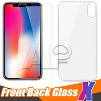 Wholesale iphone back film protector - Back and Front For Iphone X 10 8 Plus Tempered Glass Screen Protector Film 2.5D 9H No Package