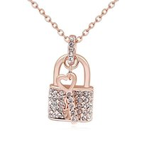 Wholesale Open Element - True Love Key Opens Your Heart Lock Swarovski Elements Crystal Pendant Chain Necklace Fashion Lucky Jewelry For Lover Gift
